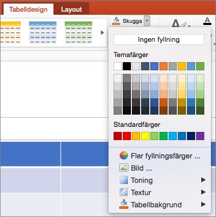 Skärmbild som visar fliken tabelldesign där listpilen fyllning markeras för att visa alternativen inklusive ingen fyllning, temafärger, standardfärger, fler fyllningsfärger, bild, toning, struktur och tabellbakgrund.