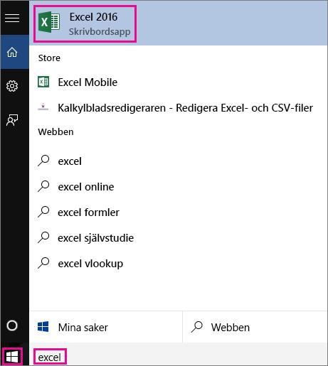 Starta en Windows 10-sökning för att leta efter appar eller på nätet