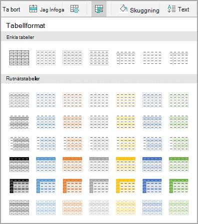Android tabellmallar