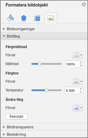 Justera inställningarna för färgmättnad i fönstret Formatera bild