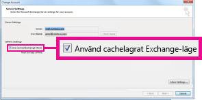 Använd kryssrutan cachelagrat Exchange-läge i dialogrutan Ändra konto
