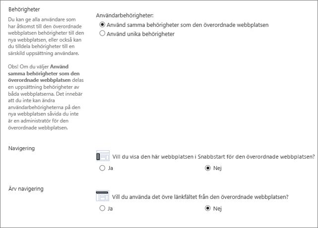 SharePoint 2016 underwebbplats, dialogruta som visar navigerings- och behörighetsavsnitt