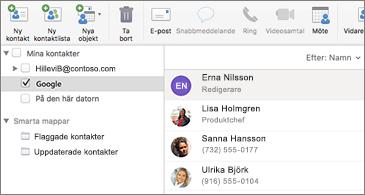 Kontaktlista med Google-kontakter