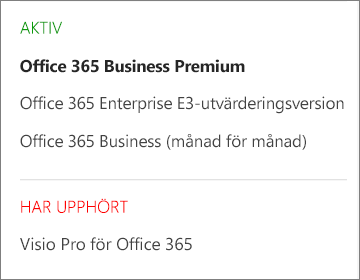 Prenumerationssidan i administrationscentret för Office 365 som visar en lista över flera prenumerationer grupperade efter deras status.