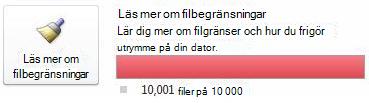 Dokumentmätare i SharePoint Workspace när 10000 eller fler dokument används