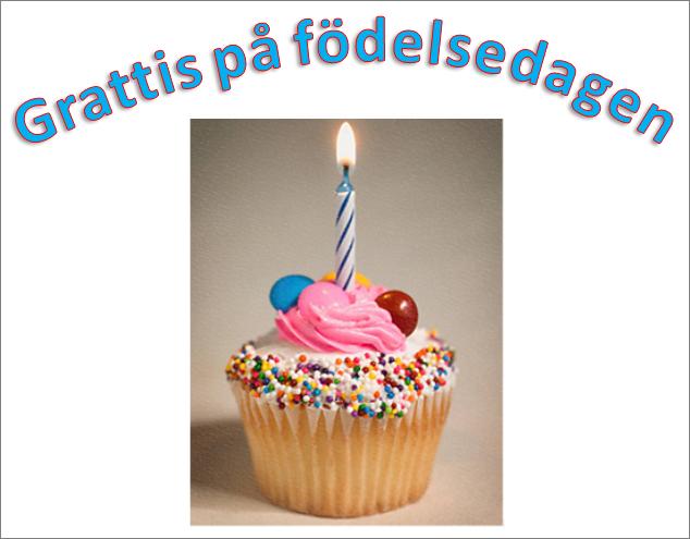 Exempel på WordArt med orden Grattis på födelsedagen och en bild