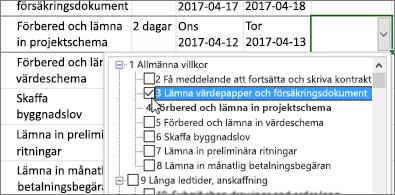 Projektplan med en listruta med uppgifter