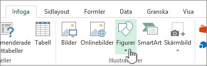 Knapp för att infoga figurer i Excel