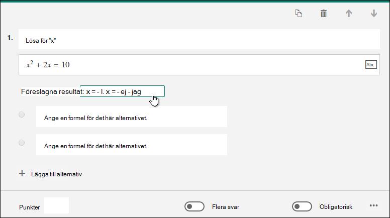 Föreslagna resultat för matematiska formel