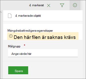Listan med filer som behöver åtgärdas information