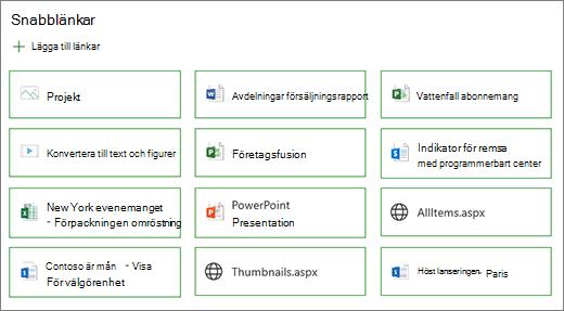Knapp layout för snabb länkar