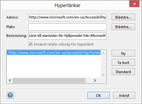 Dialogrutan Hyperlänkar för att lägga till en beskrivning för en länk i Visio.