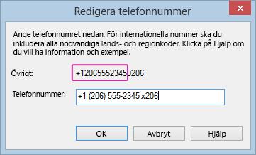 Telefonnummer som redigerats av Lync med tillagt anknytningsnummer