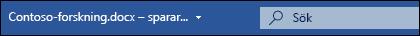 Rutan Microsoft Search i Word för Office 365