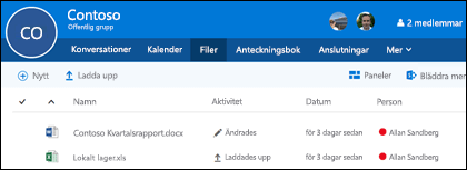 Klicka på Filer i Office 365-gruppen om du vill visa en lista över filer och mappar som lagras i din grupp