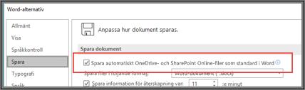 Dialogrutan Arkiv > Alternativ > Spara visar kryssrutan som aktiverar eller inaktiverar Spara automatiskt
