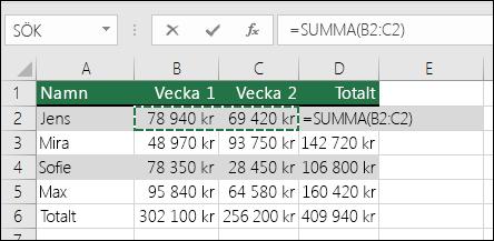 Cell D2 visar summaformeln för Autosumma: =SUMMA(B2:C2)
