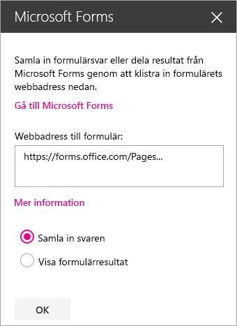 Microsoft Forms-webbdelspanel för ett befintligt formulär.