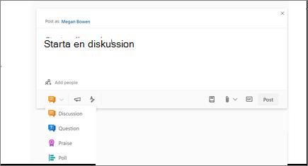 Välj ikonen Diskussion för att starta en diskussion
