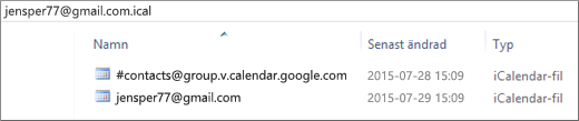 En bild av hur den ser ut när du har zippat upp din exporterade kalender.