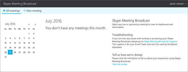 En bild av sändningsportalen för Skype-möte