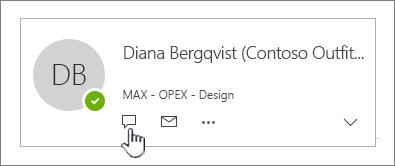 Kontaktkort med ikonen Snabbmeddelande markerat