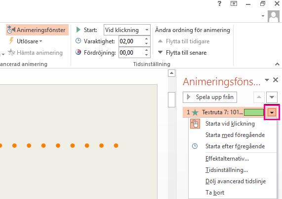 Om du vill uppdatera effektalternativet klickar du på pilen bredvid ikonen.
