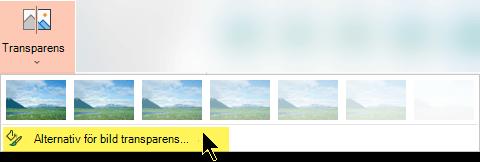 Alternativ för OH-film gör att du kan välja en egen opacitet för en bild