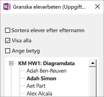 Granska panelen Elevarbete i Anteckningsbok för klassen.