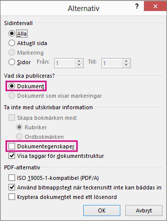 Ta bort dokumentegenskaper för att undvika att dela informationen i PDF-filen.