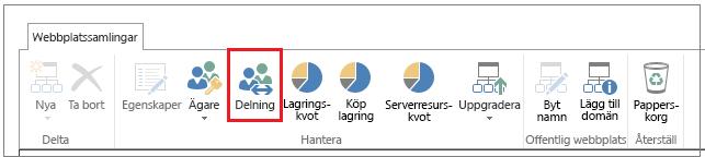 Menyfliksområdet i SharePoint Online-administrationscentret med knappen Dela