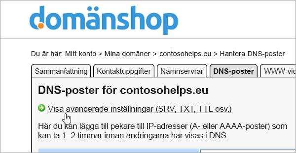 Visa avancerade inställningar i Domainnameshop