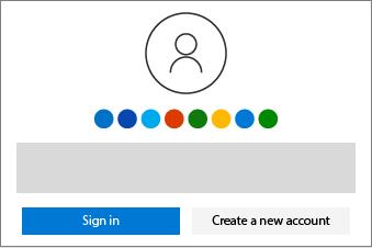 Visar knapparna för att logga in eller skapa ett nytt konto.
