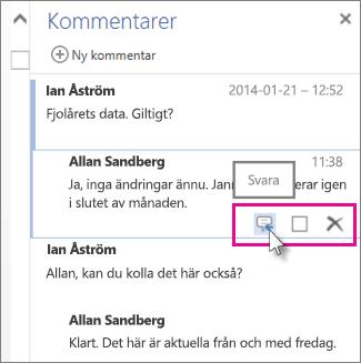 Bild av kommandot Svara under en kommentar i fönstret Kommentarer i Word Online.