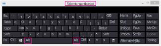 Skärmtangentbordet i Windows 8 med Alt-tangenter