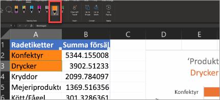 Visar Händelsepennan i Excel
