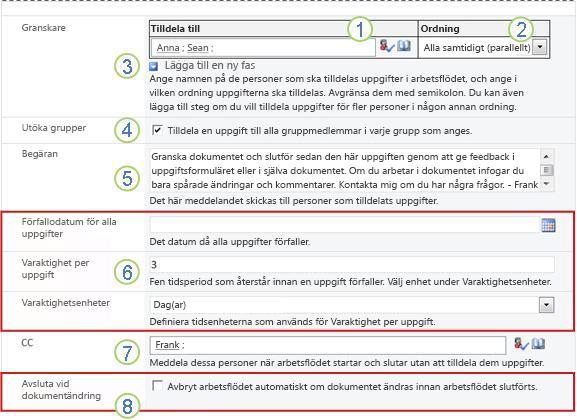 Andra sidan i associationsformuläret med numrerade bildtexter