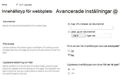 Ange URL-Adressen för dokumentmall i webbplatsinnehållstyp: sidan Avancerade inställningar