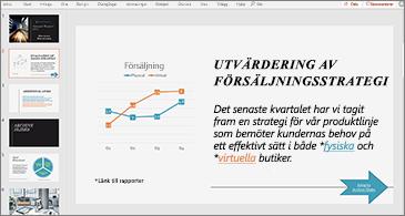 Presentation med bild som innehåller ett diagram och text med två hyperlänkar