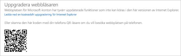 Uppgradera webbläsarmeddelandet