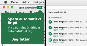 Excels menyfliksområde med bubblan Spara automatiskt till vänster och en lista med versionshistorik till höger