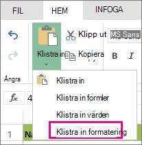 Alternativet Klistra in formatering