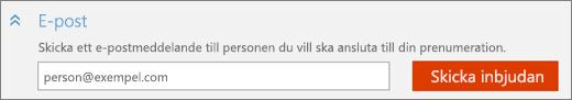 """Skärmbild på närbild av avsnittet """"E-post"""" i dialogrutan """"Lägg till någon"""" med knappen """"Skicka inbjudan""""."""