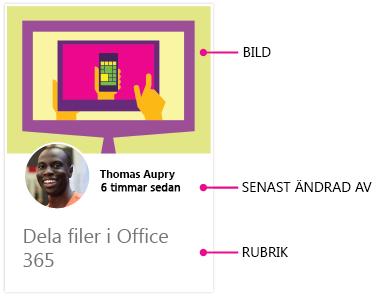 Delve för Android, innehållskort