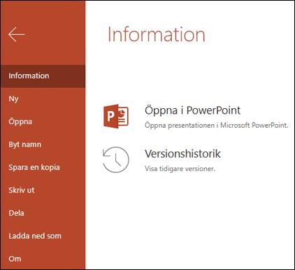 Fliken Info i Office Online med versionshistorik objektet.