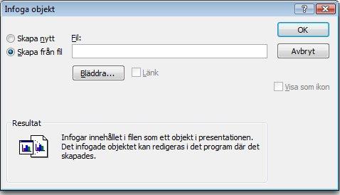 Alternativet Skapa från fil är valt i dialogrutan Infoga objekt