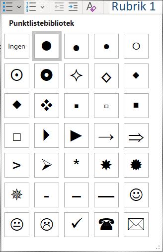 Skärmbild av alternativ för punktlistor på Start-menyn.