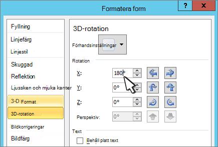 Dialog rutan Formatera figur med 3D X-rotation markerat