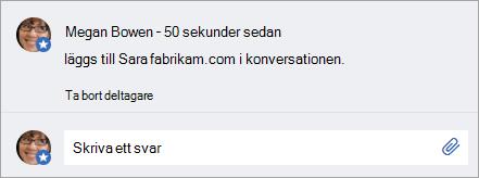 En extern användare har lagts till i ett meddelande