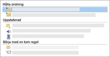 Konceptuell Skärmbild av e-postregler funktioner